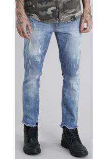 Calça Jeans Skinny Cropped Destroyed Azul Médio