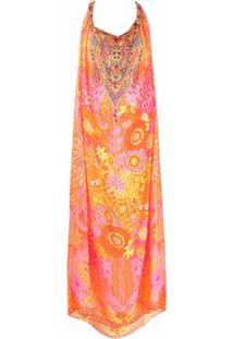 Camilla Vestido Longo Com Padronagem Floral - Laranja