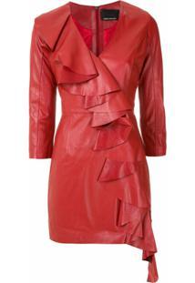 Andrea Bogosian Vestido Curto Scarlet De Couro - Vermelho