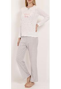 Pijama Longo Feminino Bege/Cinza