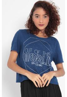 "Blusa ""Out Of This World"" Em Flamê- Azul Marinho & Brancmalwee"