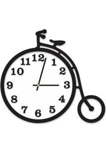 Relógio De Parede Decorativo Escultura Bicicleta Preto Ônix Com Detalhe Branco 36X40Cm Grande