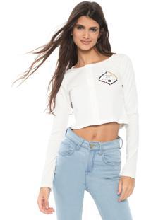 Blusa Cropped Hang Loose Garopaba Off-White