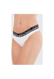 Calcinha Calvin Klein Underwear Tanga Barcode Branca