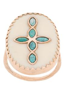 Pascale Monvoisin Anel Bowie N°3 White Turquoise Em Ouro Rosé 9Kt - Dourado