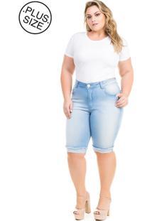 Bermuda Jeans Claro Com Elastano Plus Size