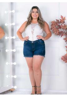 Shorts Desfiado Almaria Plus Size Shyros Jeans Azu