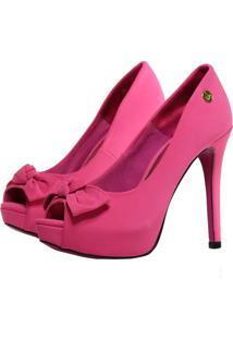 Peep Toe Meia Pata Week Shoes Com Laço Nobuck Rosa