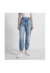Calça Mom Jogger Em Jeans Com Bolso Faca E Aviamento De Latinha Colorido No Passante   Blue Steel   Azul   38