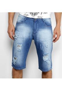 Bermuda Jeans Opera Rock Estonada Rasgos Masculina - Masculino