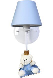 Arandela 1 Lâmpada Ursinho Príncipe Quarto Bebê Menino Potinho De Mel Azul