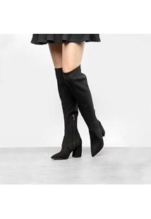 Bota Over The Knee Carrano Strech Salto Bloco Feminina - Feminino-Preto
