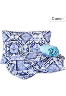 Jogo De Lençol Queen Geométrico 4 Pçs - Marina Bordados - Un