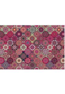 Tapete Abstrato- Rosa Escuro & Branco- 60X40Cm- Tapetes Junior