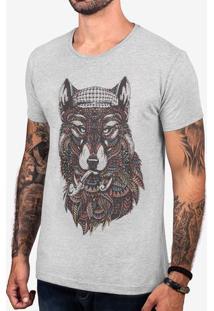 Camiseta Ethnic Wolf Mescla Escuro 103395