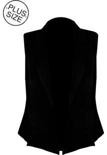 Colete Linda D Alfaiataria Com Bolsos - Plus Size (H3585) Preto