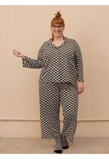 Pijama Clássico Gal Plus Size Branco-G Branco