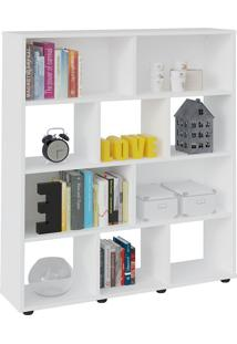 Estante Para Livros E Objetos Branco Com 10 Nichos - Artely