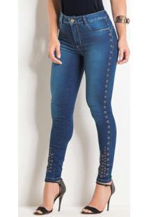 Calça Cigarrete Jeans Sawary Com Termocolantes