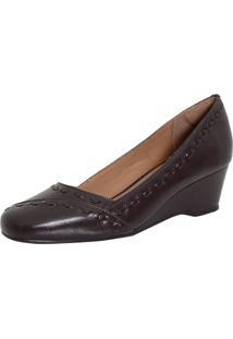 Sapato Laura Prado Anabela Confort Marrom