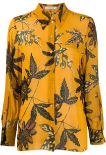 Dorothee Schumacher Leaf-Print Chiffon Blouse - Amarelo