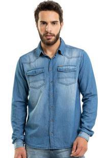Camisa Jeans Masculina Rovitex Azul
