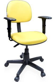 Cadeira Secretária Giratória Com Braços Couro Ecológico Amarelo
