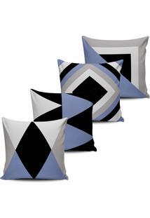 Kit 4 Capas Almofadas Abstrata Geometrica Lilas Preto 45X45 - Tricae