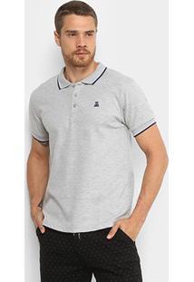 Camisa Polo Broken Rules Friso Duplo Masculina - Masculino-Cinza Claro