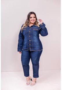Jaqueta Jeans Plus Size Feminina Com Elastano Dark - Azul - Feminino - Dafiti