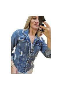 Jaqueta Jeans Degrant Destroyed Estruturada Jeans