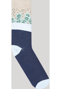 Meia Masculina Cano Alto Divertida Estampada Dinheiro Azul Marinho