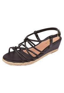 Sandálias Tiras Chyrrô Calçados Anabela Preto