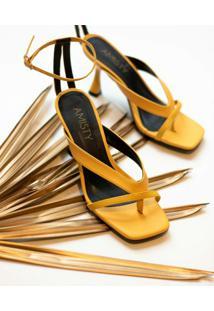 Sandália Tiras Amisty Material Sintético Amarela