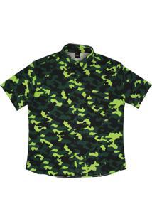 Camisa Botão Alkary Camuflada Verde Limão