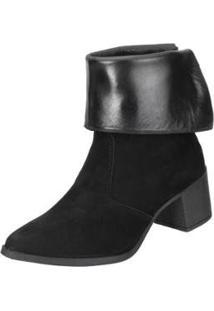 Bota Ankle Boot Dududias10 Dobra Feminina - Feminino-Preto