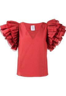 Rosie Assoulin Blusa Com Babados - Vermelho