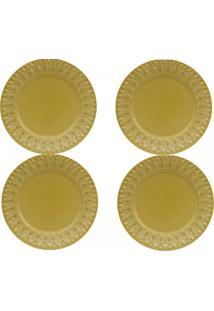 Sousplat 4 (Quatro) Unidades Linha Greca - Amarelo