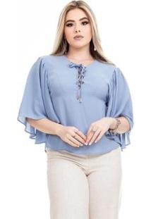 Blusa Clara Arruda Decote Cruzado Feminina - Feminino-Azul