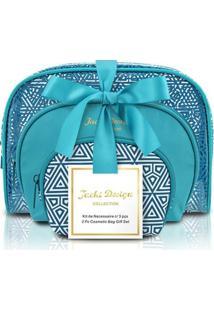 Kit Necessaire Jack Design 3 Em 1 Geométrica - Jacki Design - Feminino-Azul Turquesa