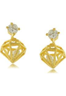 Brinco Com Pingente De Diamante E Zircônia 3Rs Semijoias Dourado