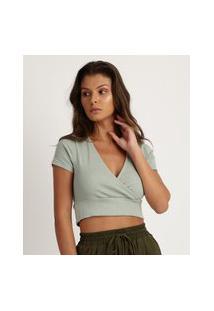 Blusa Feminina Cropped Canelada Manga Curta Decote V Transpassado Verde Claro