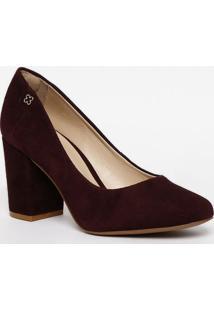 Sapato Tradicional Em Couro Com Tag- Roxo- Salto: 8Ccapodarte