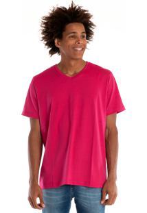 Camiseta Decote V Manga Curta Pink
