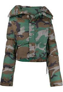 Unravel Project Camouflage Print Puffer Jacket - Verde