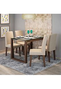 Conjunto De Mesa De Jantar Retangular Anita Com Vidro E 4 Cadeiras Milena Suede Caramelo E Marrocos
