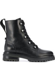 Sergio Rossi Ankle Length Combat Boots - Preto