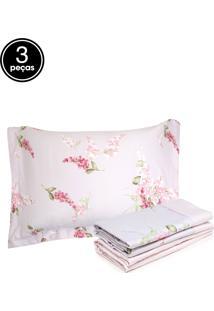 Jogo De Cama Solteiro 3Pçs Corttex Living Art Premium Ariel Branco/Rosa