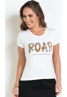 Blusa Estampa Roar Leopardo Branca