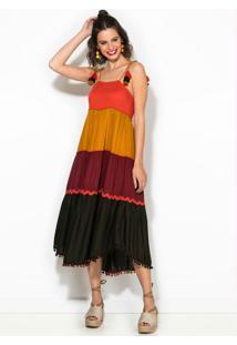 Vestido Color Aviamentos Multicores